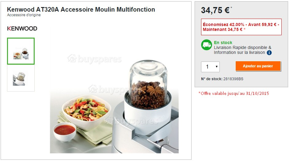 Kenwood AT320A Accessoire Moulin Multifonction