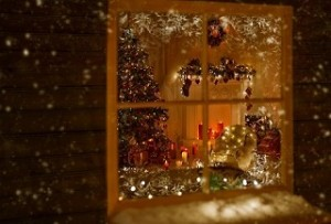 Christmas Window Holiday Home Lights, Room Decorated By Xmas Tree Candles Presents Gift, New Year Night, Snow And Frost